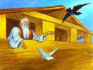 noah sends out a raven and a dove
