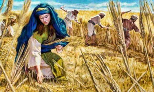 Ruth picking up barley
